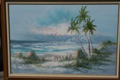 OLD BEACH HOLIDAY VIEW OIL PAINTING BY A MEXICAN ARTIST in Fort Rucker, Alabama